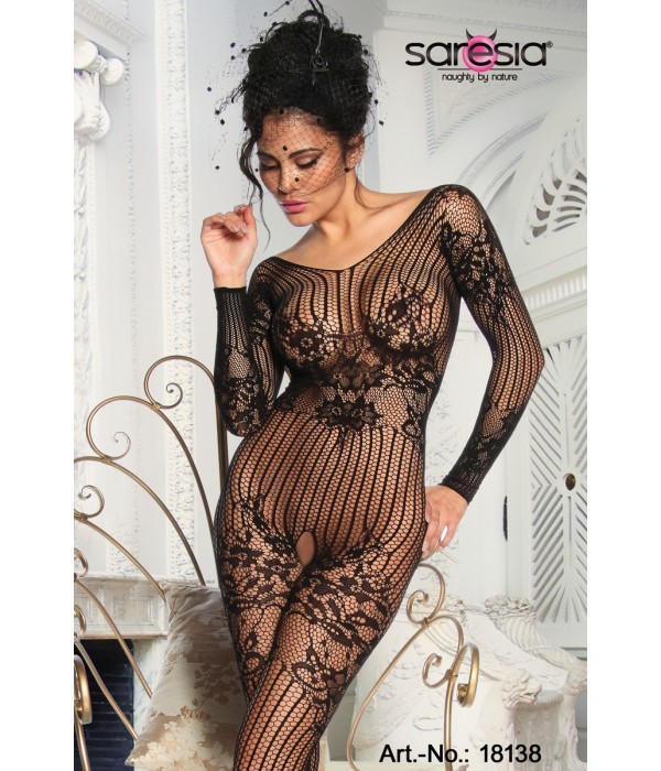 Črni bodystocking ouvert